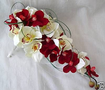 bouquet artificial wedding flowers brides orchid bouquet in red and ivory wedding flowers