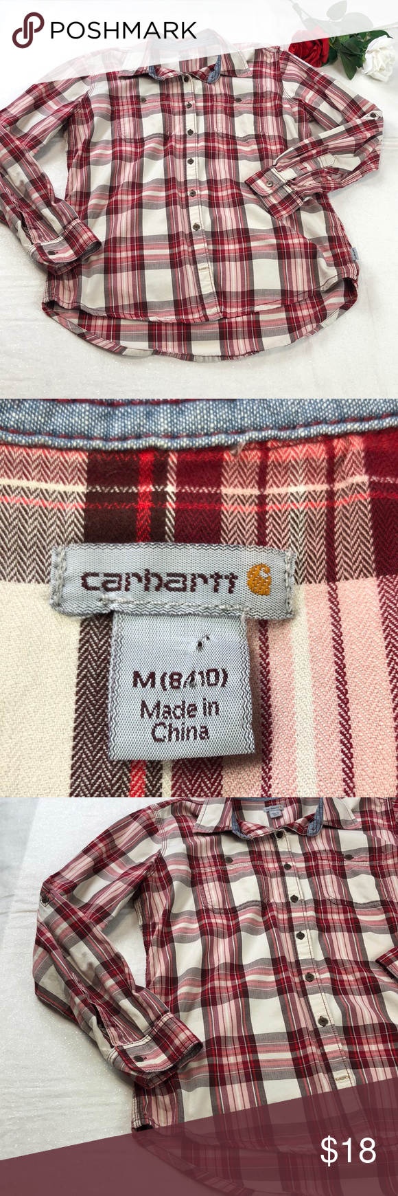 Carhartt Women's M Plaid Tab Sleeve Shirt Excellent Condition and Super Cute, Tab Roll Sleeves, Size Medium (8/10), Plaid , Button Front Carhartt Tops Button Down Shirts #carharttwomen Carhartt Women's M Plaid Tab Sleeve Shirt Excellent Condition and Super Cute, Tab Roll Sleeves, Size Medium (8/10), Plaid , Button Front Carhartt Tops Button Down Shirts #carharttwomen