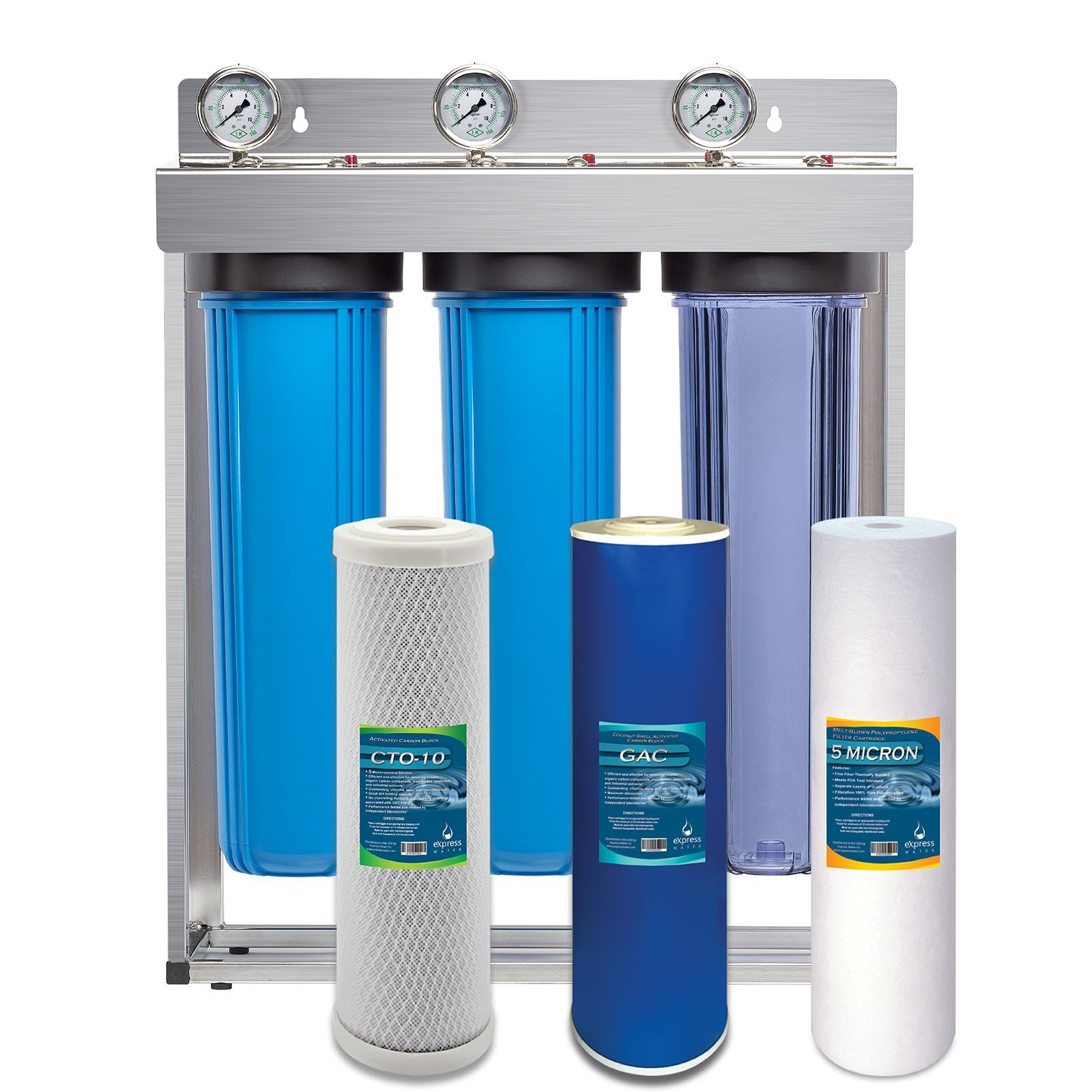 Whole House Water Filter 3 Stage Home Water Filtration System Sediment Charcoal Carbon Filters Home Water Filtration Whole House Water Filter Water Filter