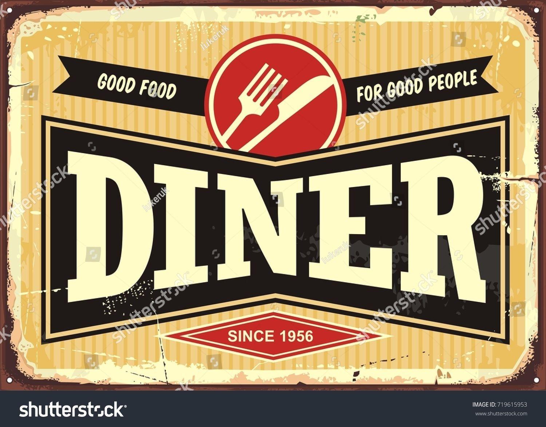 Diner Retro Sign Board Good Food For