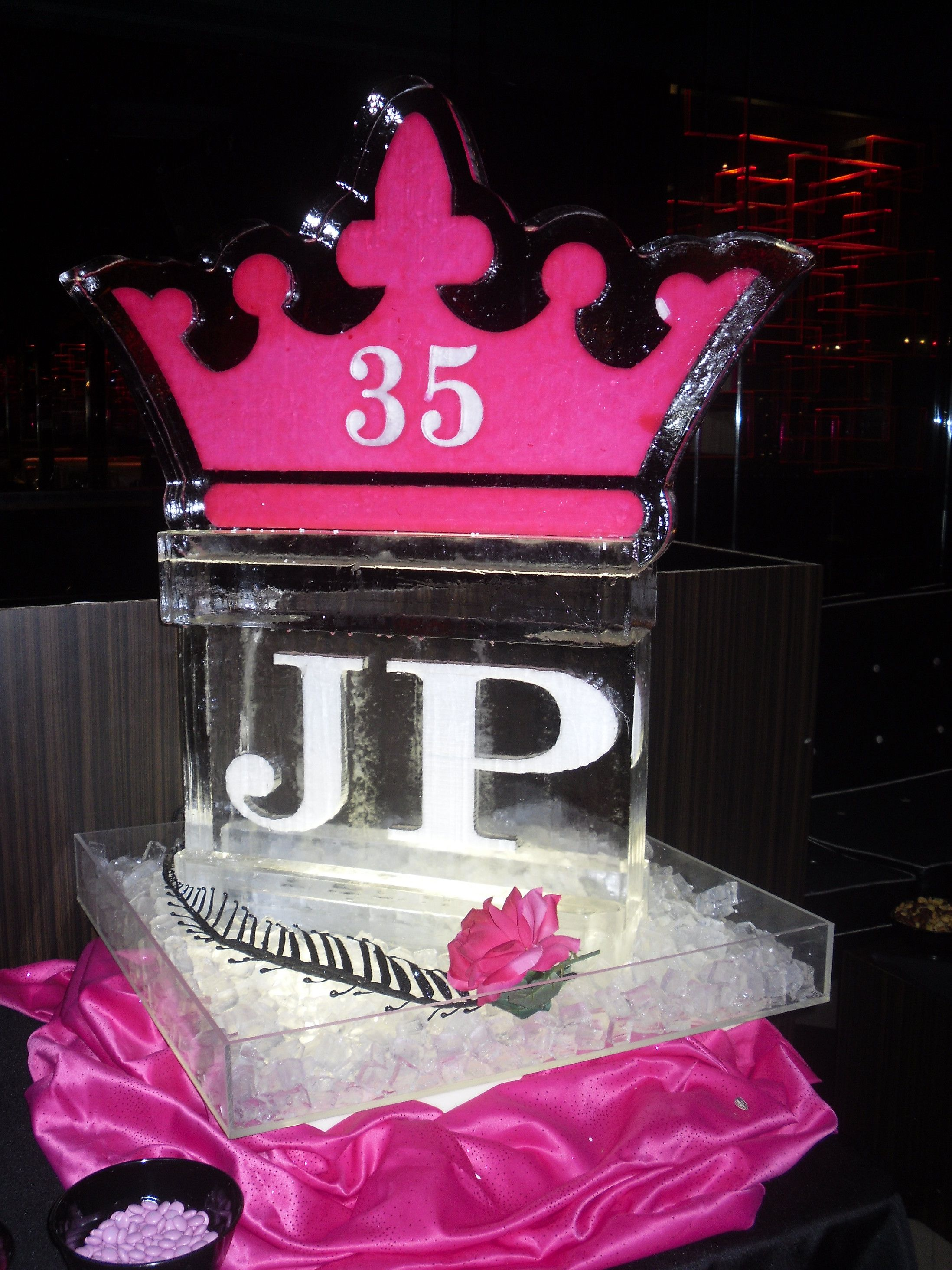 Queen for the Day 35th Birthday Ice Sculpture creative