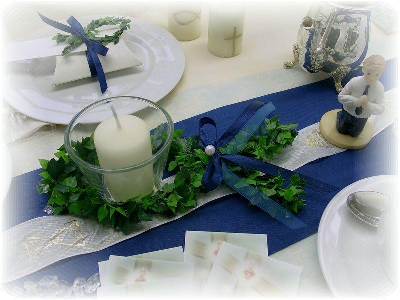 Set 4x Kerze Kommunion Konfirmation Taufe Fisch weiss gold Tischdeko