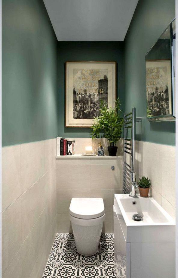 Green and patterned tile bathroom by kingstonlaffertydesign.com #ModernBathroom #modernpowderrooms