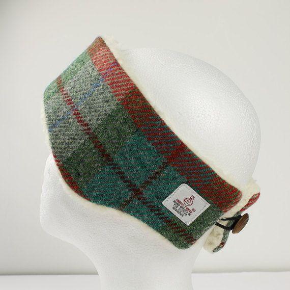 Headband Harris Tweed Green   Orange Check by PaulineLothian d1729b1690d