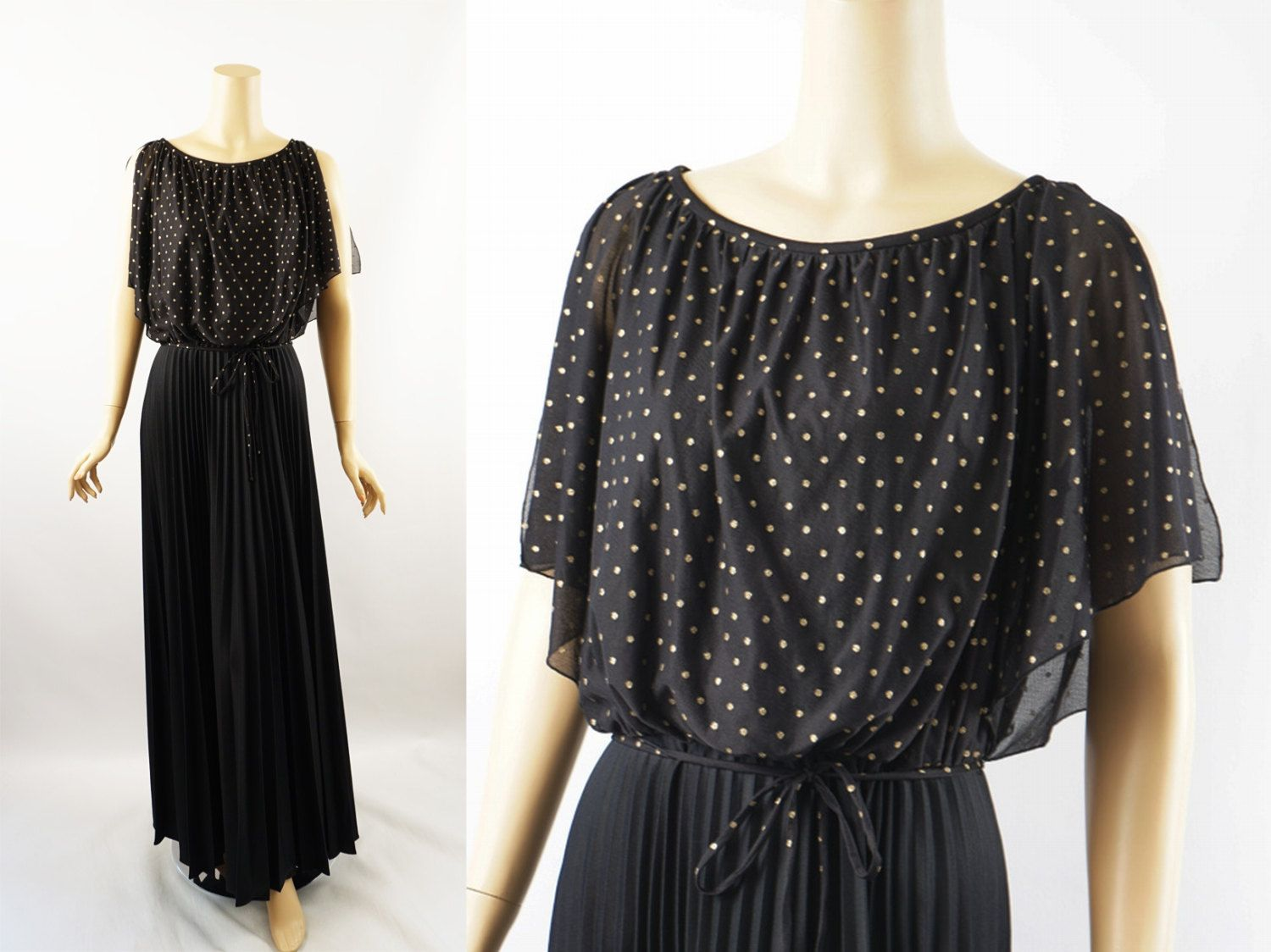 Vintage 1970s Party Gown Black Crystal Pleated Skirt with Gold Dotted Sheer Overlay by Amy Deb Sz 16 B36 by alleycatsvintage on Etsy