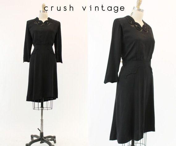 40s Vintage Black Dress L / 1940's Glamour Mesh by CrushVintage, $92.00