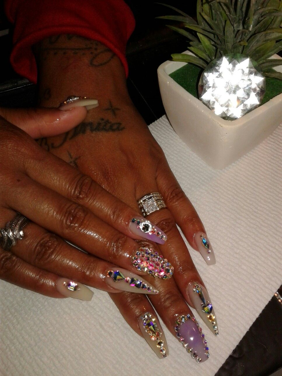 This Is A Mixed Set Of Coffin An Stiletto Nail Ice Out In Flat Backcrystal In Different Sizes Stiletto Nails Nails You Nailed It