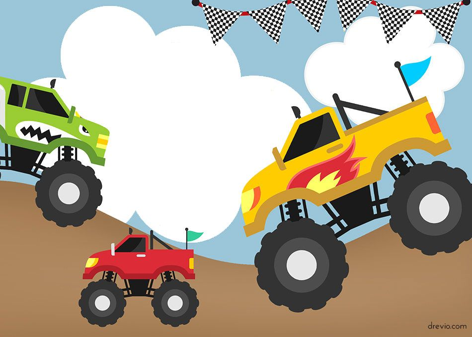 monster trucks invitation templates free printable free