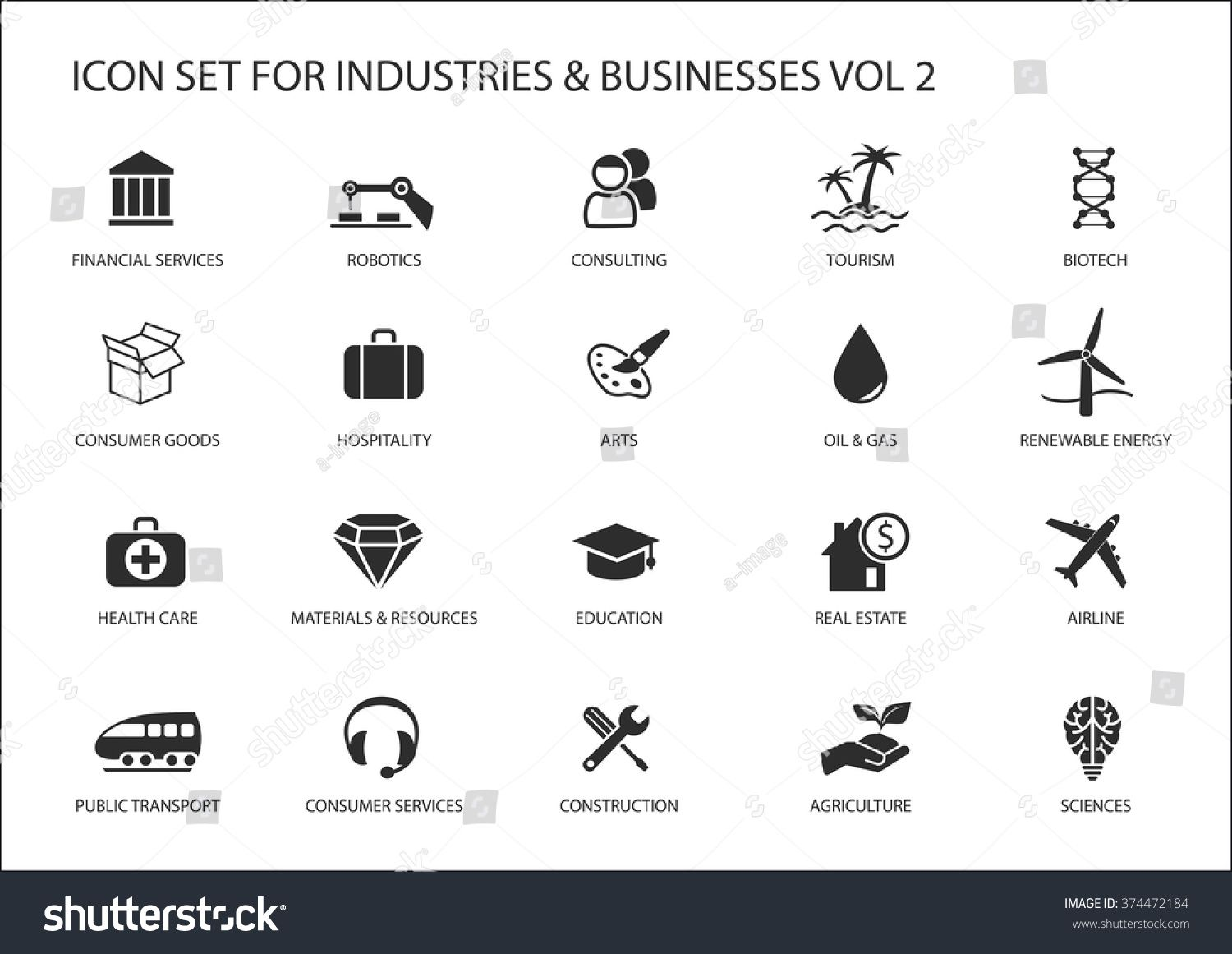 Business icons and symbols of various industries \u002F