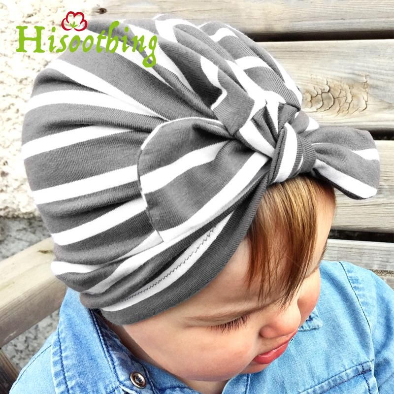 e39bc3fe2cba 2018 stripes Print Baby Rabbit Ear Knot Hat Girls Indian Cap Baby ...
