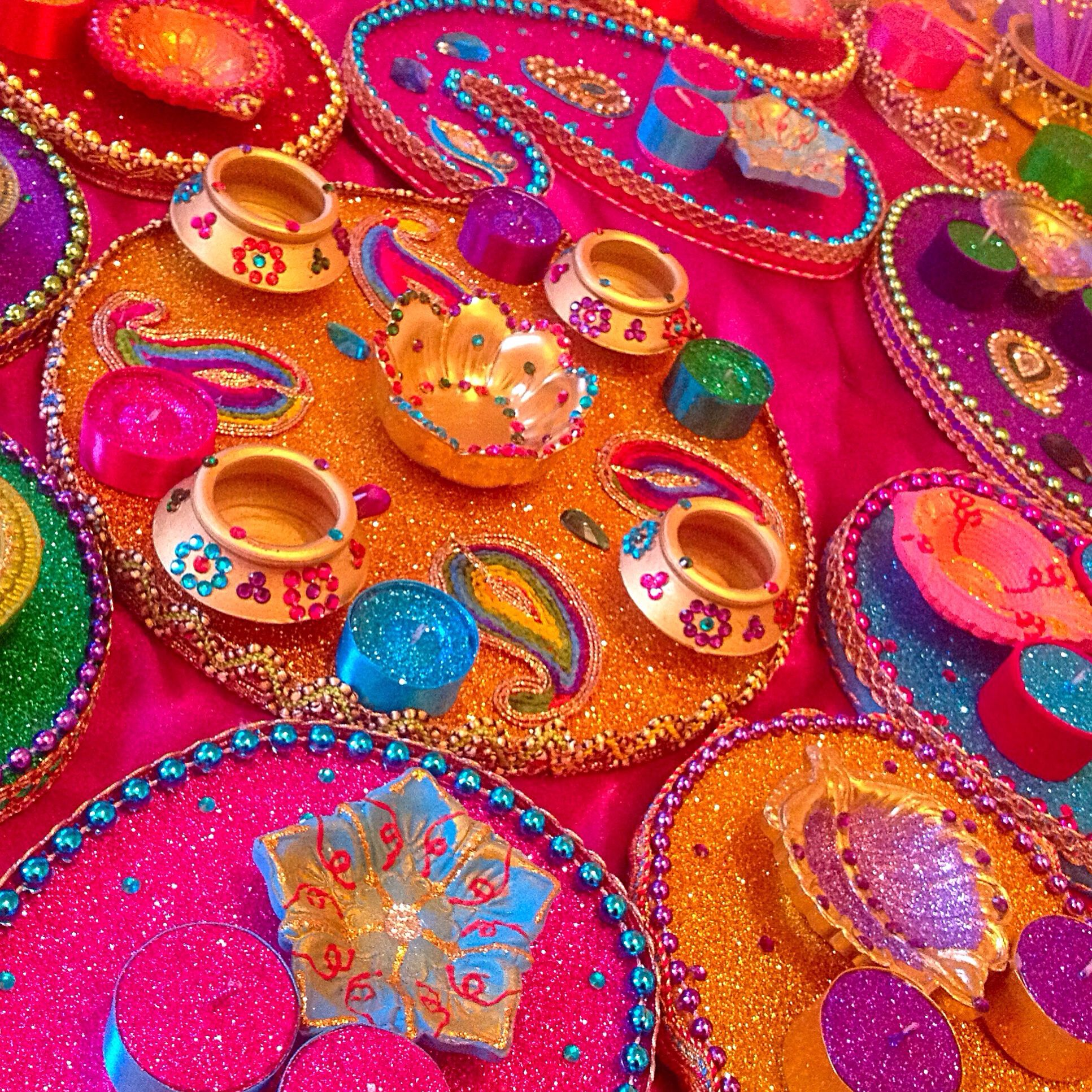 Decoration Of Mehndi Plates : Colourful mehndi trays see my facebook page