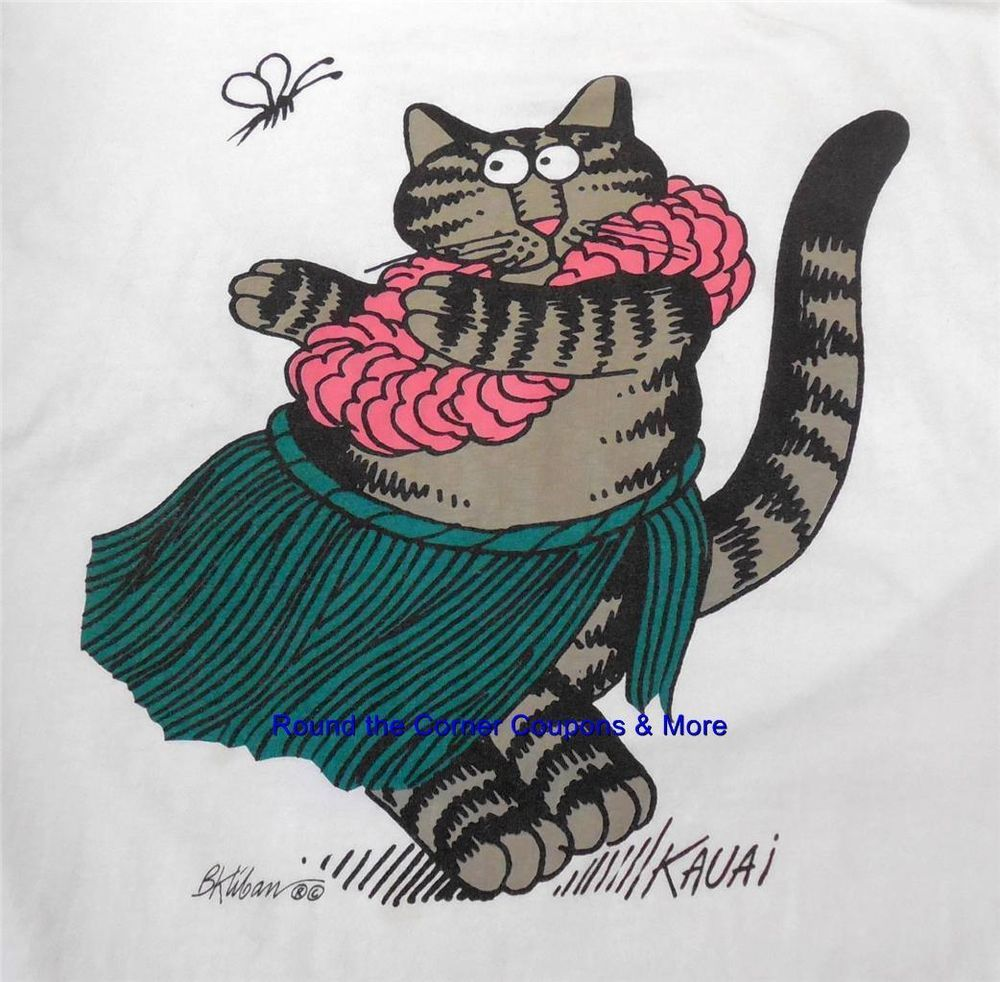 Kliban Hula Cat Kauai TShirt size Large Hawaii Crazy