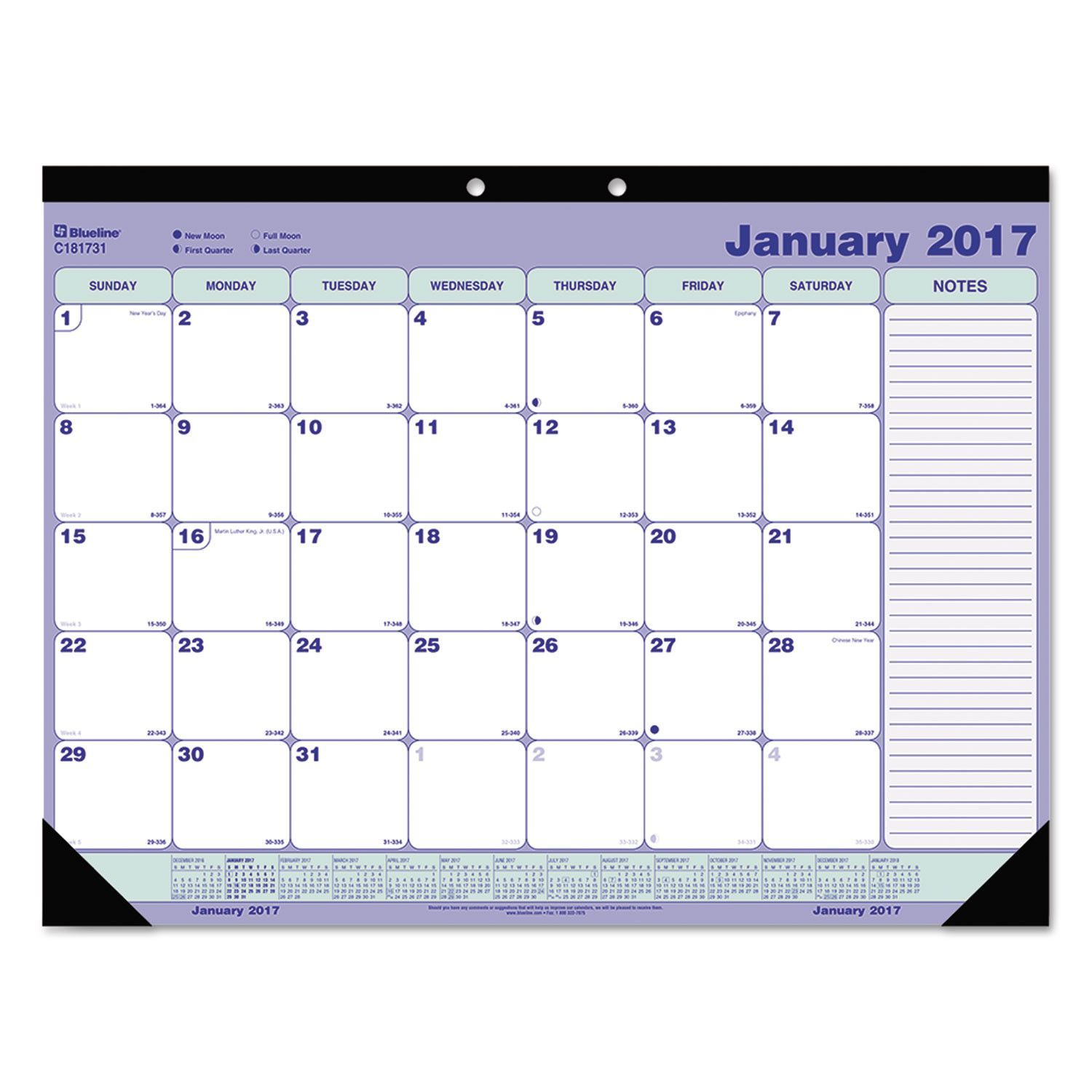 "Desk Pad Calendar, 21-1/4"" X 16"", Blue/white/green, 2017                                                                                                                                                                                 Plus"