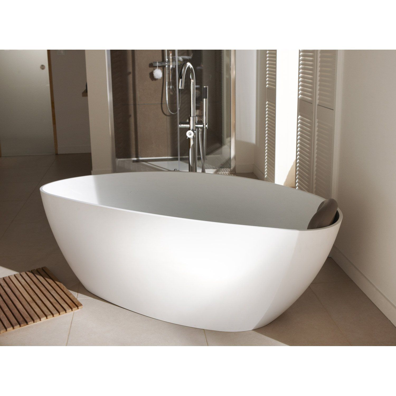 baignoire ilot ovale l 157x l 71 cm blanc brillant stori.