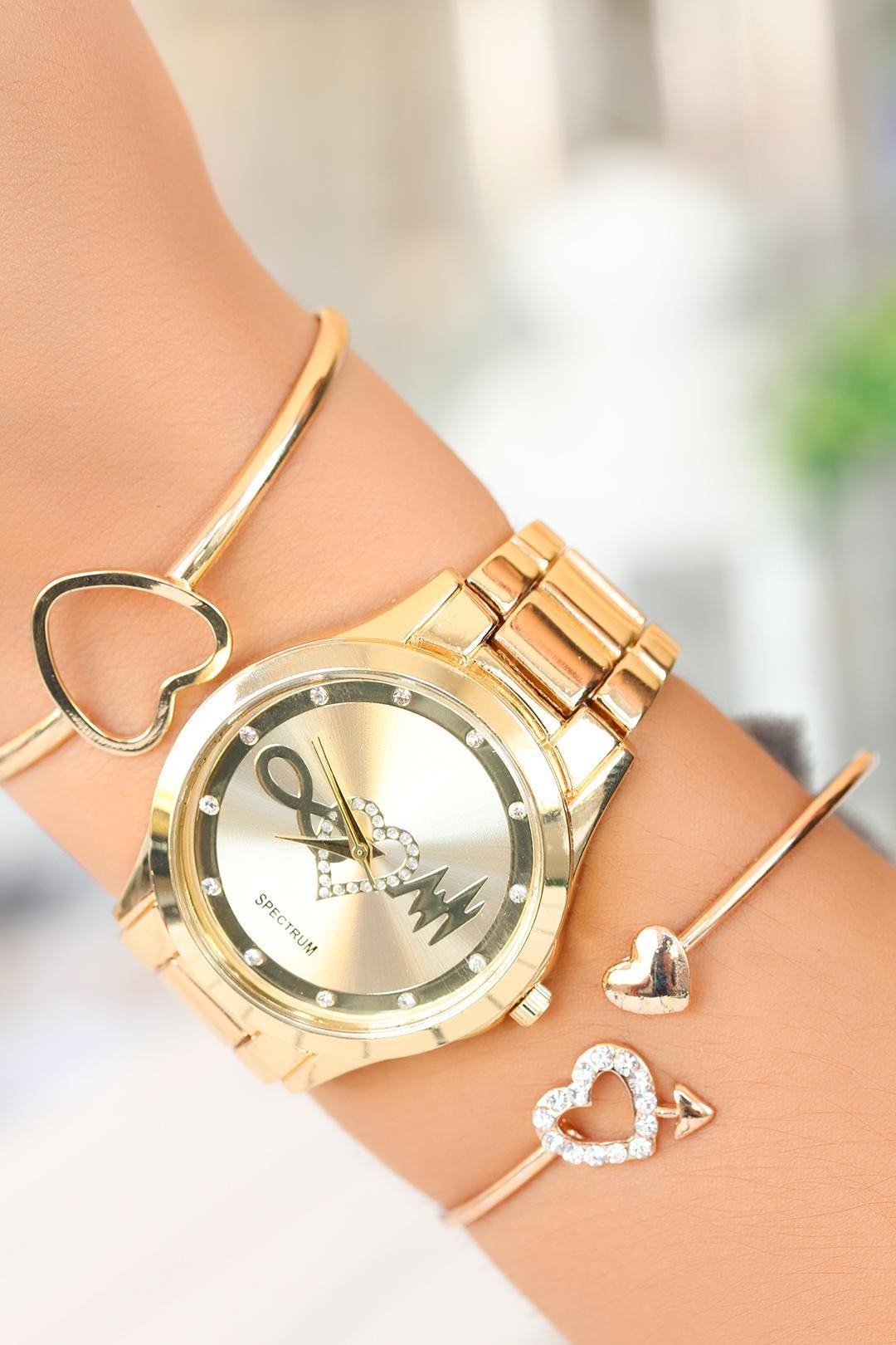 Gold Kasa Bayan Saat Ve Bileklik Kombini Res2 Bayan Saatleri Bileklik Taki