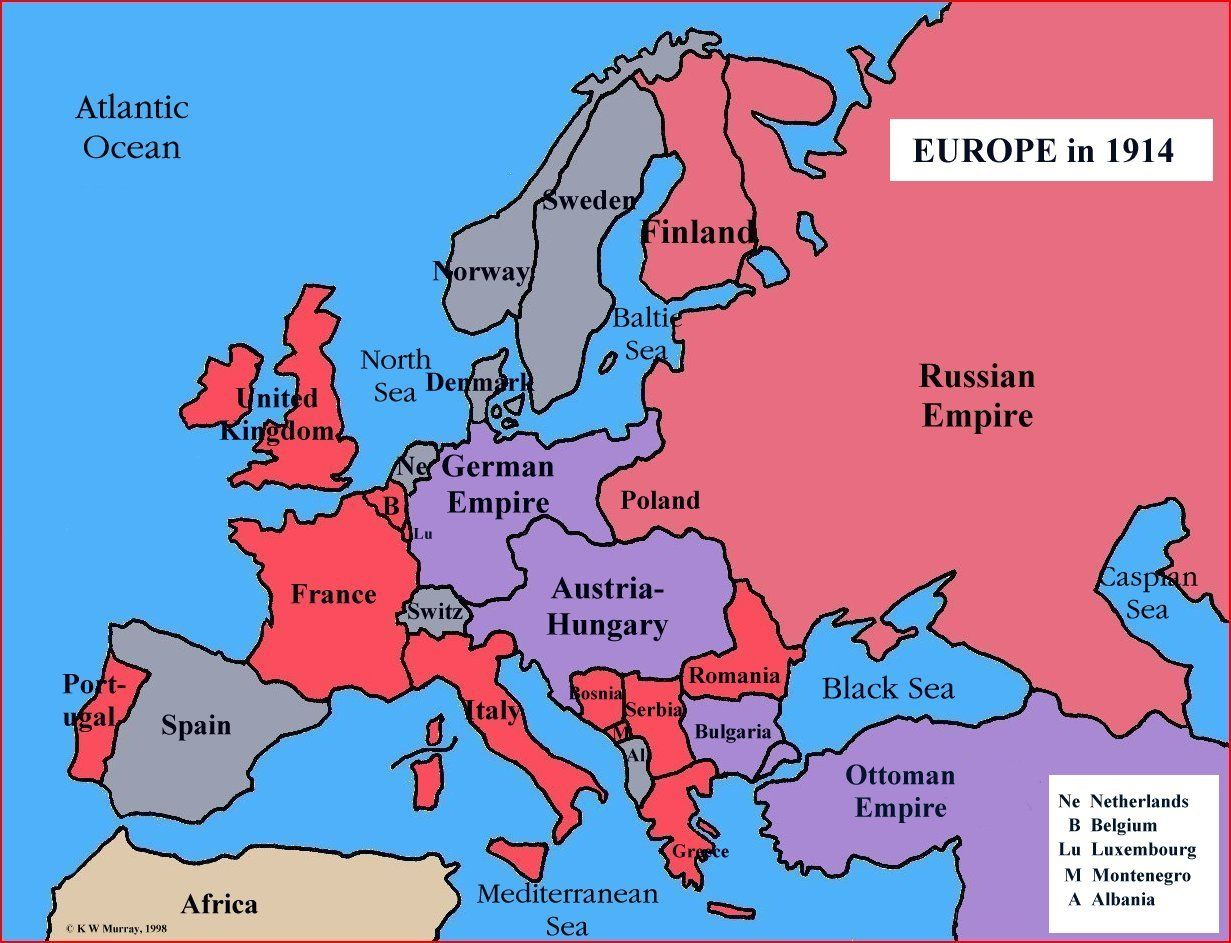 Very Simple Map Of Europe In 1914 History Pinterest Austro