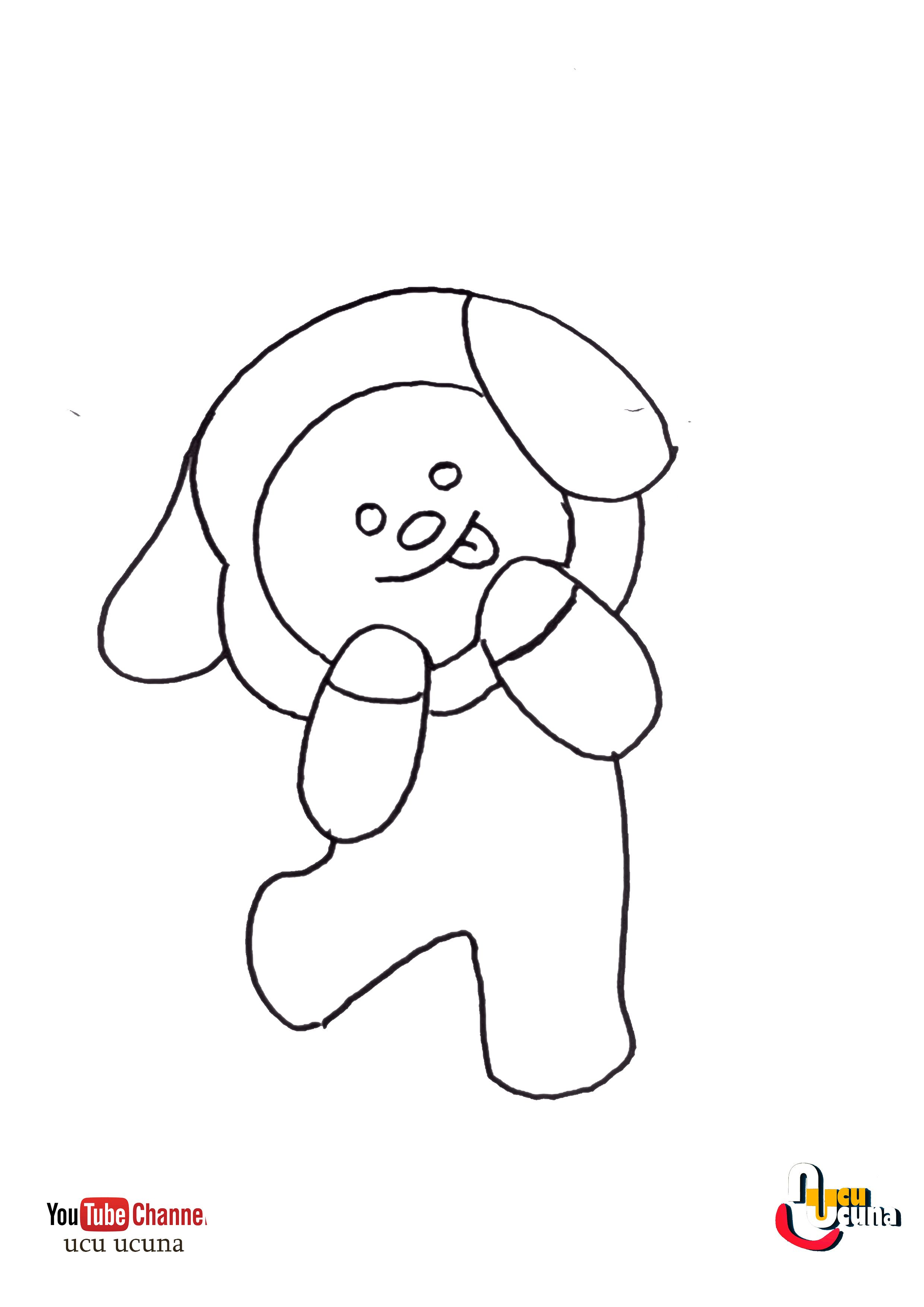 How To Draw Chimmy Bt21 Bts Step By Step Easy In 2020 Easy Cartoon Drawings Easy Drawings Bts Drawings
