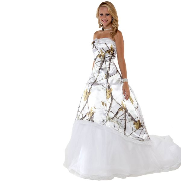 Realtree snow wedding gown if i ever get married again for Camo and pink wedding dresses