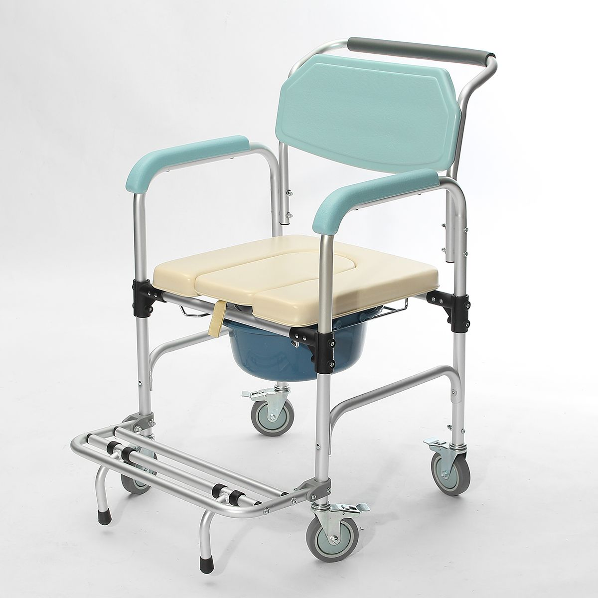 3 In 1 Commode Wheelchair Bedside Toilet Shower Seat Bathroom Rolling Chair Elder Folding Chair Shower Seat Rolling Chair Chair