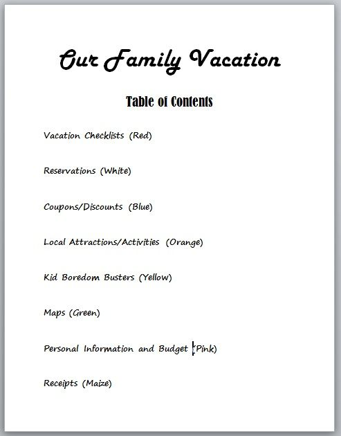 how to make a vacation binder table of contents travel splash