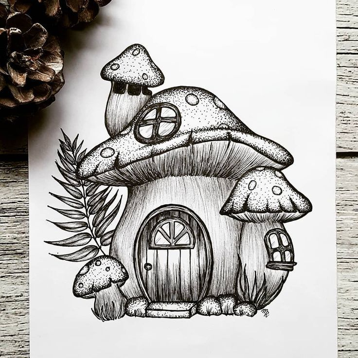 "Mandy Razik on Instagram: ""Illustration 350/365 Today's Illustration is inspired by @that.messy.sketchbook. The mushroom house is my favorite drawing from Carmen.…"""