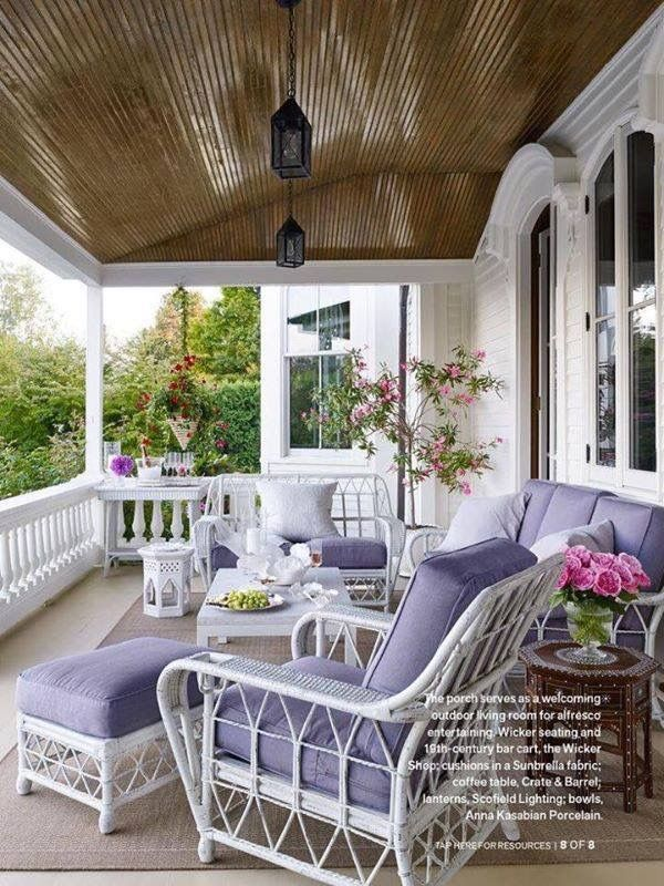 pretty wicker furniture with lavender cushions pretty porches - Pretty Porches And Patios