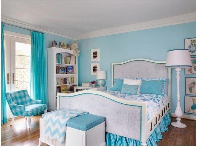 Beyaz Turkuaz Yatak Odasi Modeli Ev Dekorasyon Fikirleri