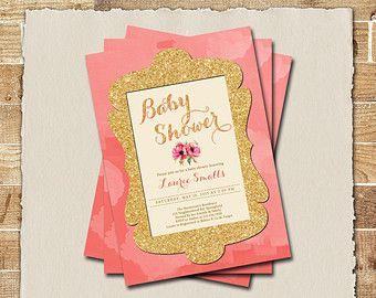 baby shower invitation glitter gold invitation baby shower