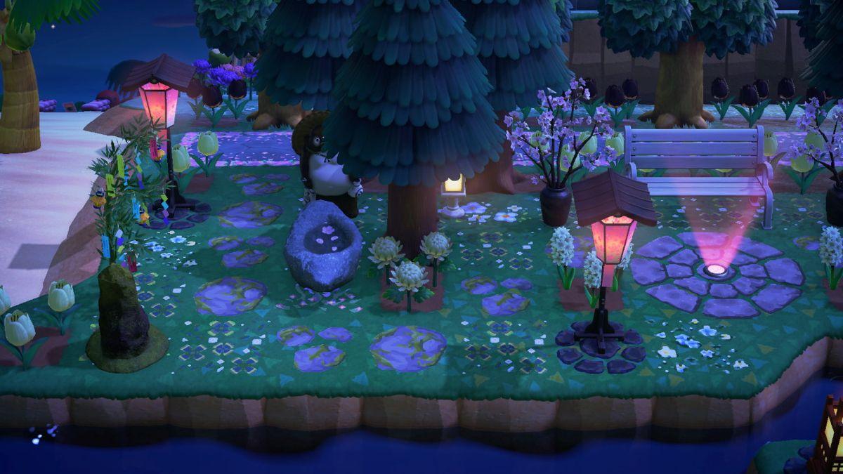 Pretty At Night Animal Crossing New Animal Crossing Rock Garden Design