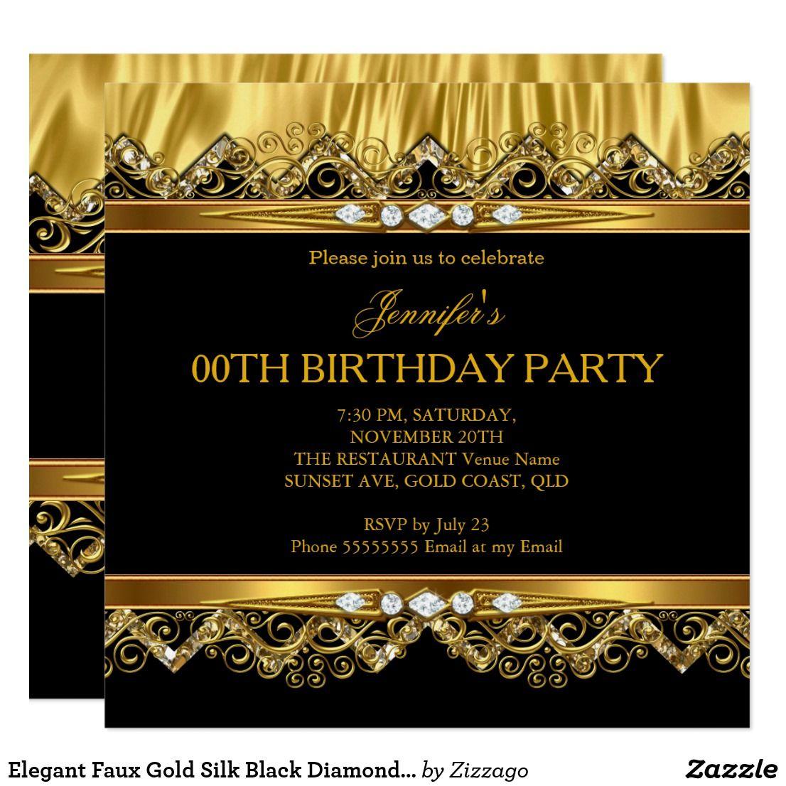 Elegant Faux Gold Silk Black Diamond Invitation   Birthdays