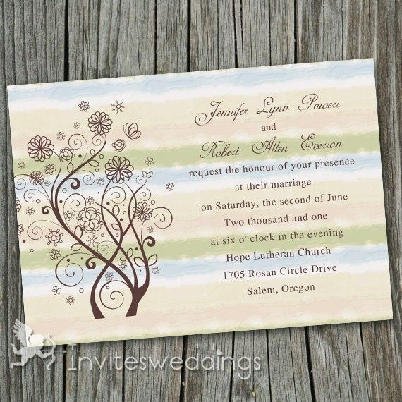 Affordable Blue Green Flowers Rustic Wedding Invitates IWI243