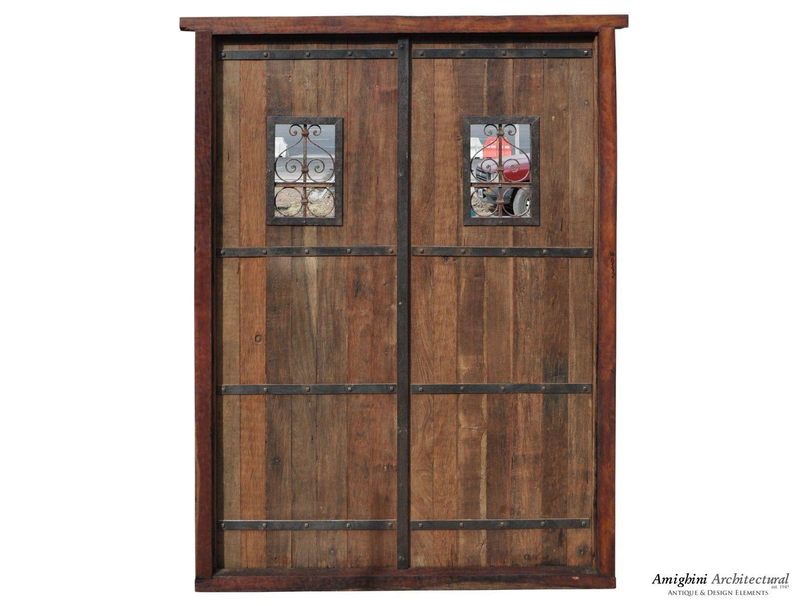 Antique double solid door wrought iron inserts lit pinterest