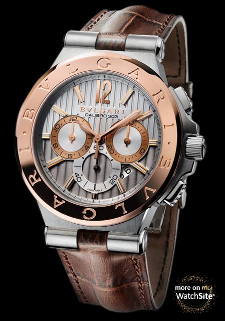 bulgari diagono 42mm steel chronograph a blue dial 102060 diagono calibro 303 steel pink gold alligator strap bvlgari