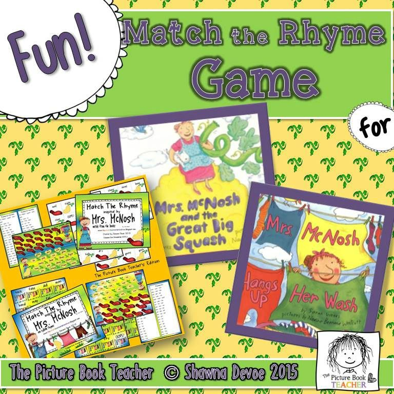 Practice rhyming with this Match the Rhyme Game inspired by two Mrs. McNosh books by Sarah Weeks.