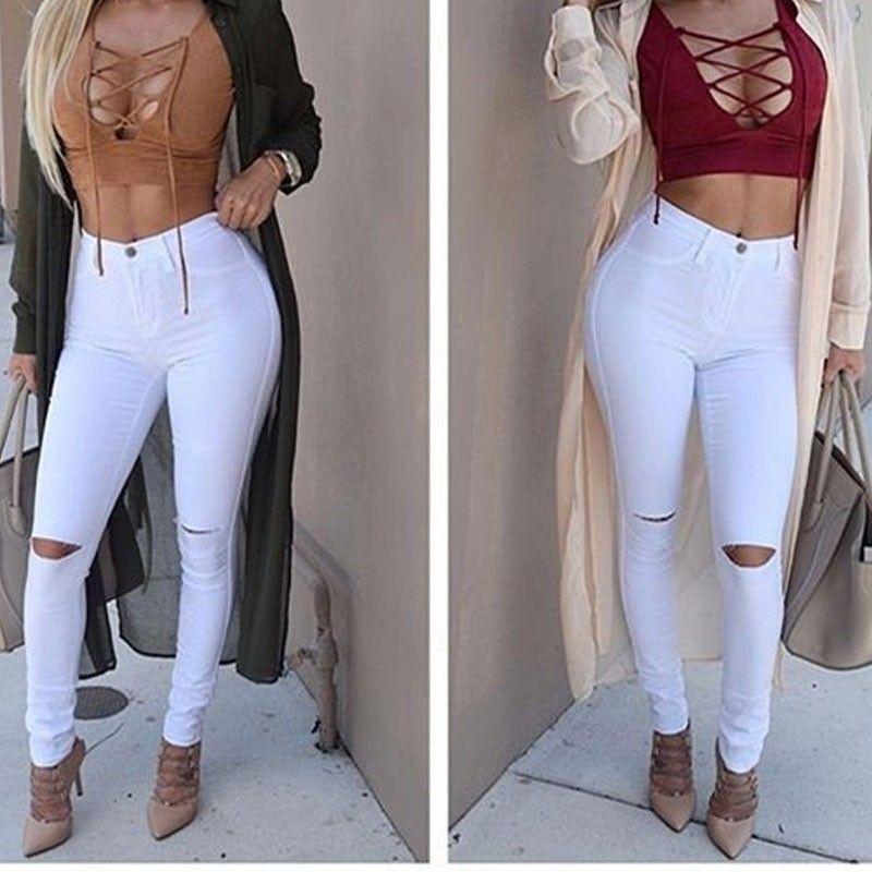 b1f637753 Calça Jeans Branca Rasgada Cintura Alta | Pintas em 2019 | Fashion ...