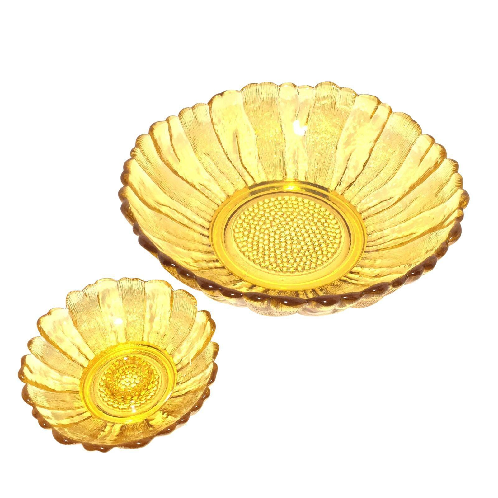 Image of blenko sunflower yellow glass bowl u candle holder