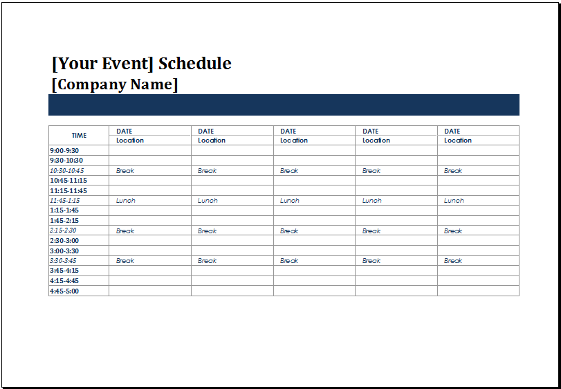Event Planning Template Excel MS Excel Five Day Event Schedule Template