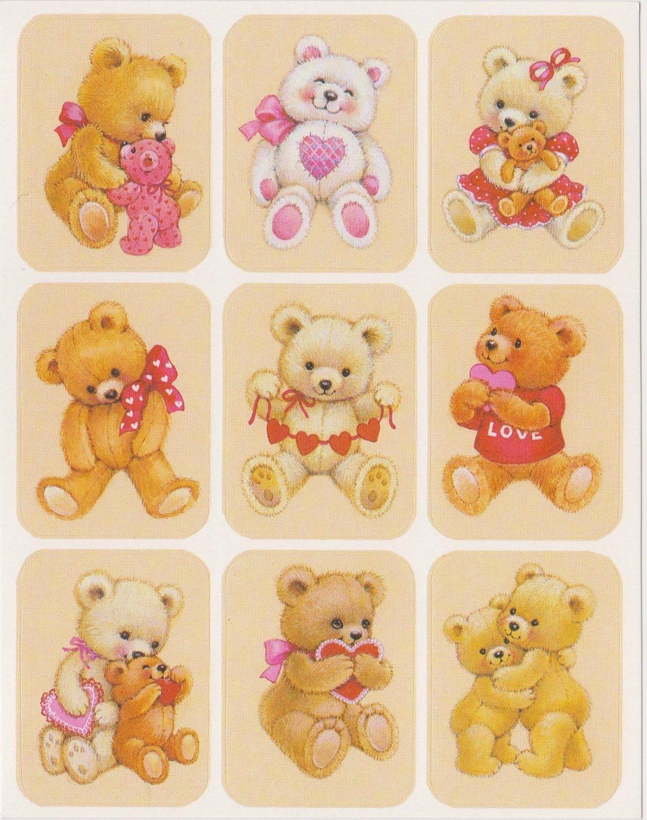Vintage 80's Valentine Bears Sticker Sheet