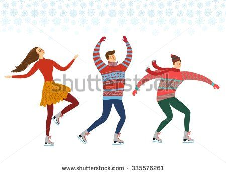 Vector illustration with cartoon ice skaters on white background. Isolated characters set. Sport illustration for your design. - stock vector