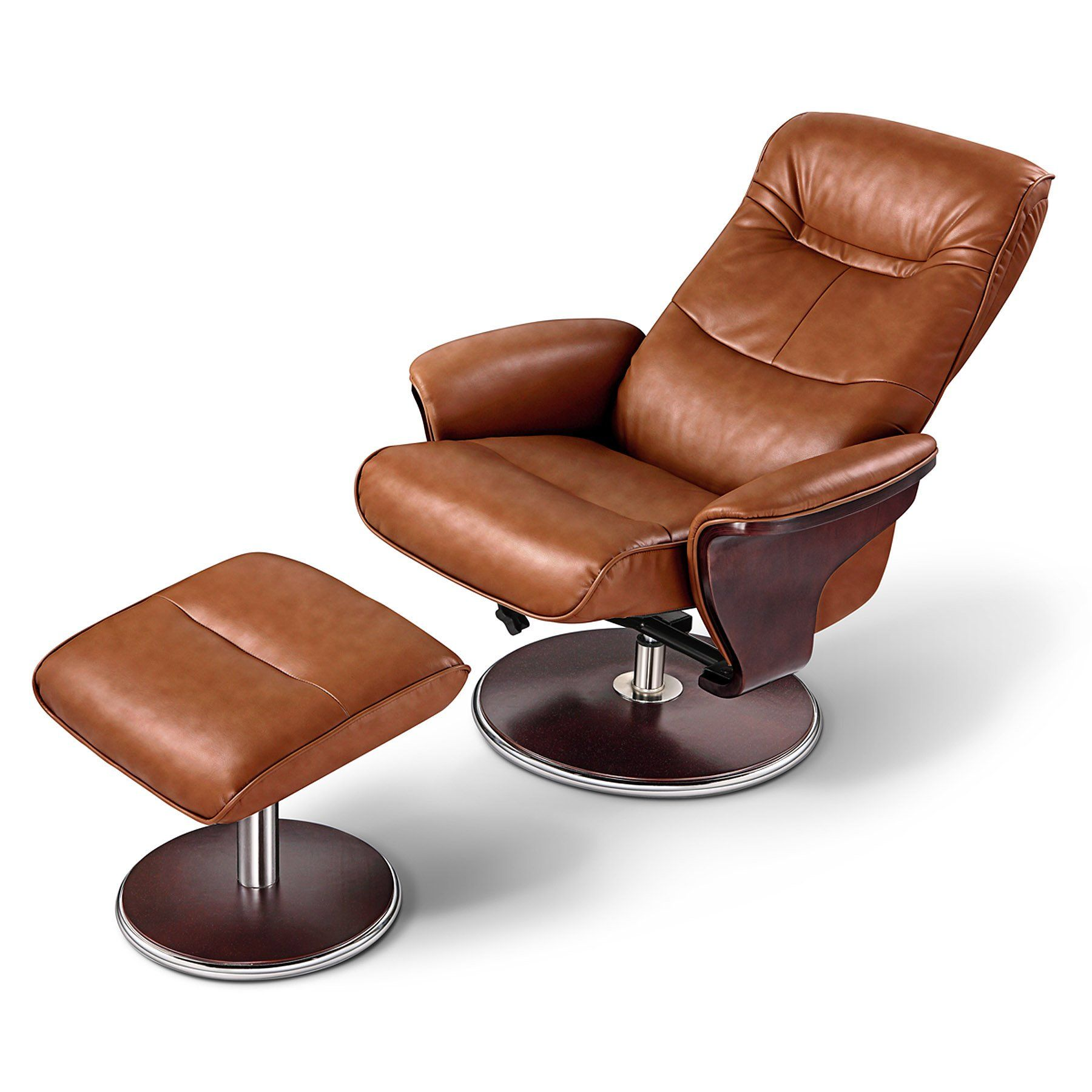 Milano Leather Swivel Recliner and Ottoman Recliner with