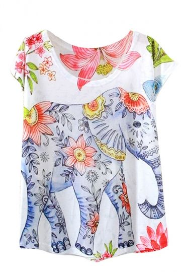 White Flower Elephant Printed Casual Stylish Womens Tee Shirt