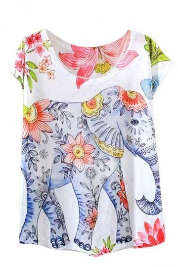 White Flower Elephant Printed Casual Stylish Womens Tee Shirt