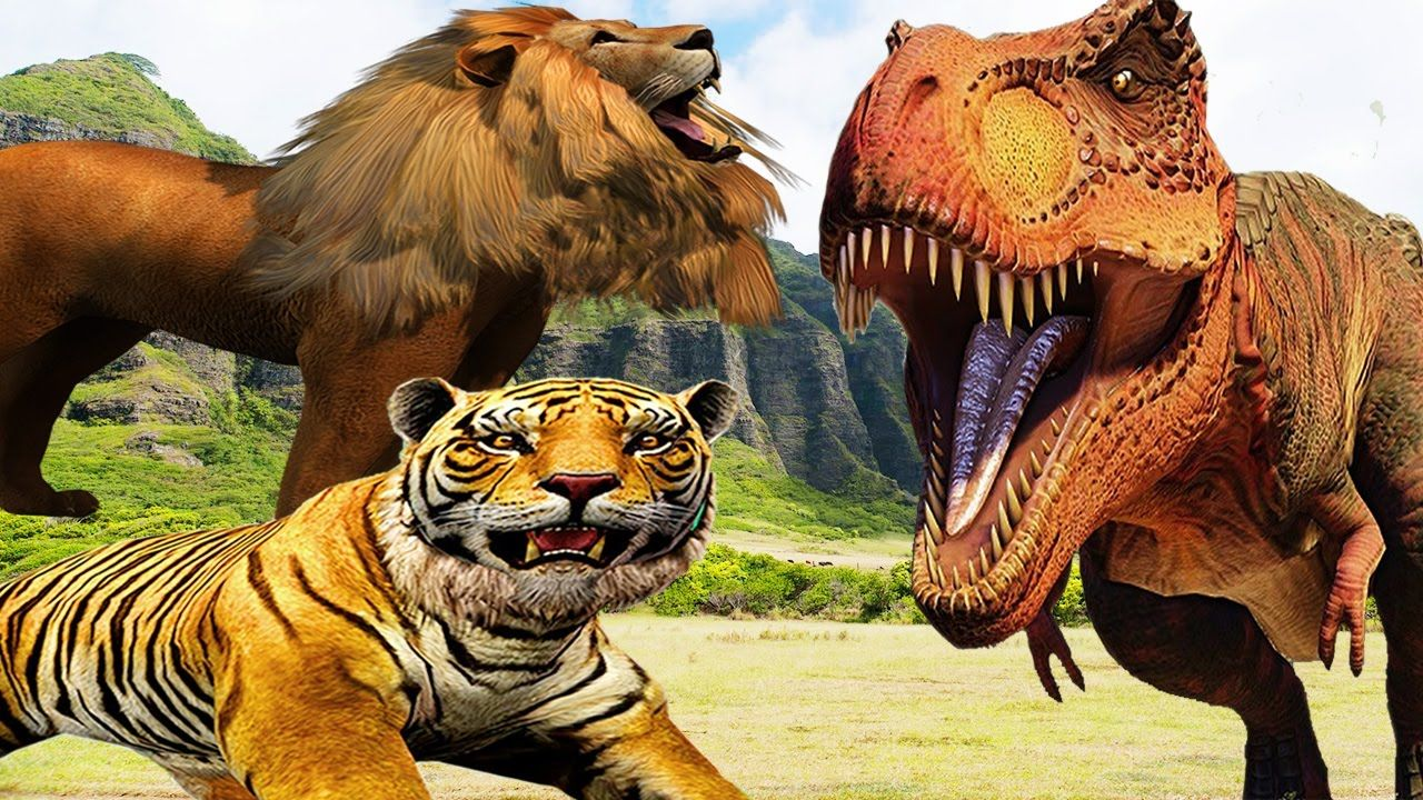 Lion Vs Dinosaur Fight Gorilla Tiger Bear Elephant Cartoon