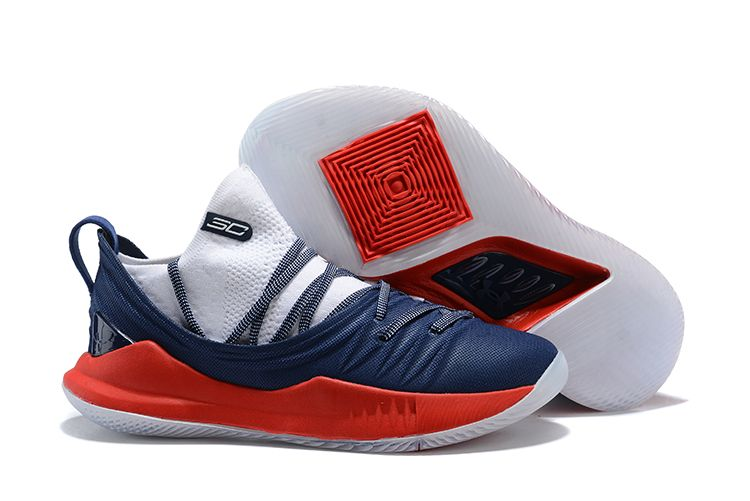 bba64a9cff28 2018 Discount Under Armour Curry 5 Low Navy Blue Red-White Basketball Shoes