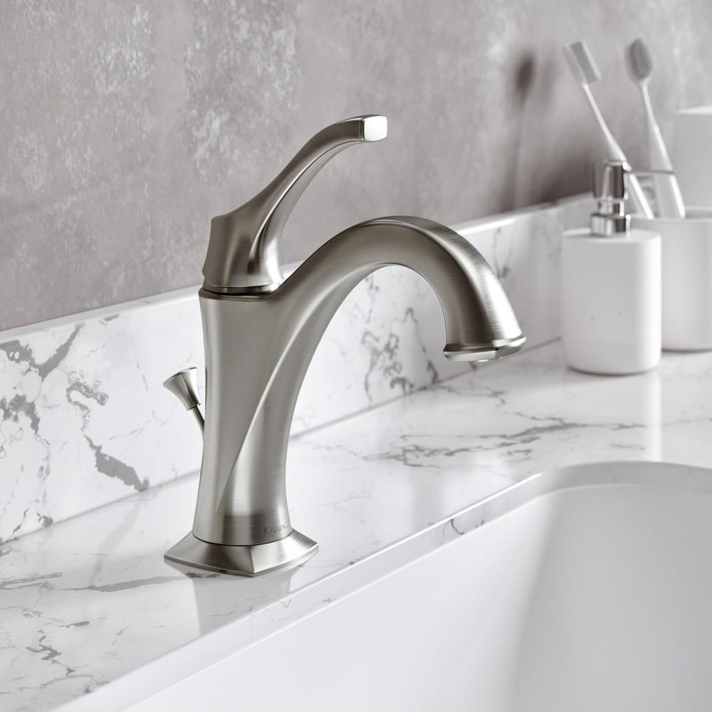 Kraus Arlo Spot Free All Brite Brushed Nickel Single Handle Basin Bathroom Faucet With Lift Rod Drain And Deck Plate Spot Free Stainless Bathroom Faucets Faucet Bathroom Sink Faucets