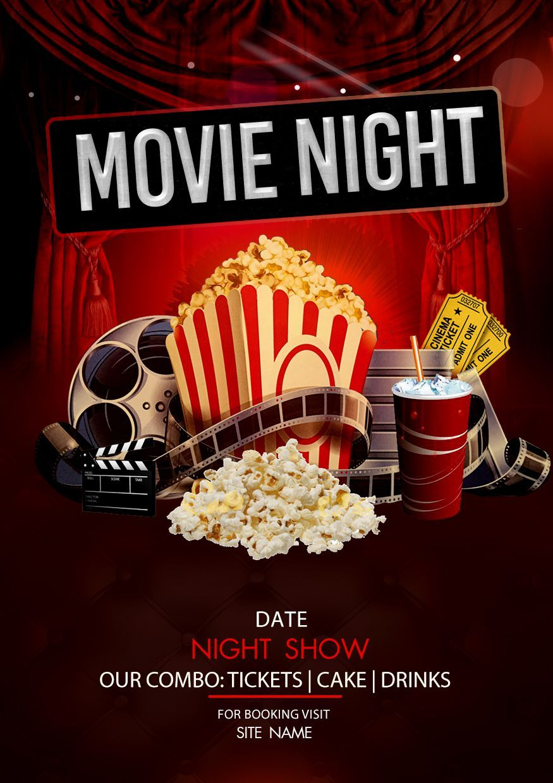 Movie Night Flyer 126293 Flyers Design Bundles In 2021 Movie Night Flyer Movie Night Poster Christmas Movie Night