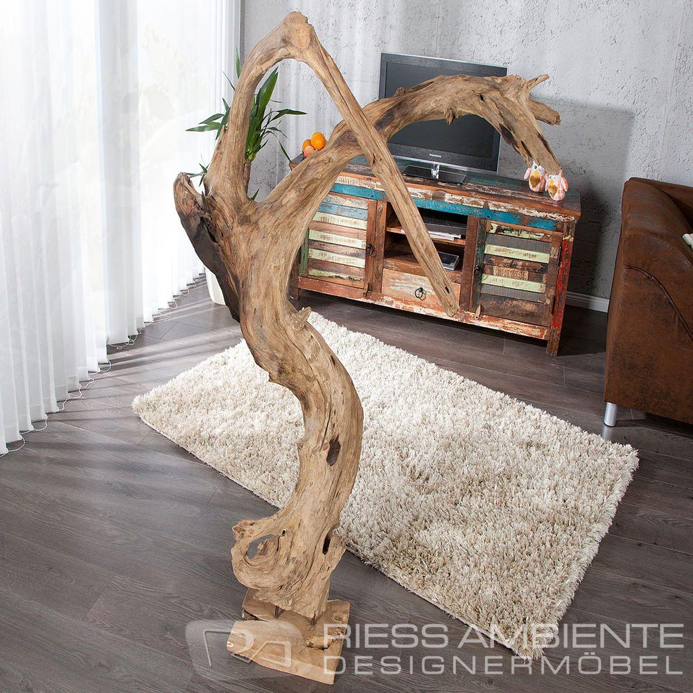 Massive Design Statue REEF Treibholz Dekoration 130cm Baumstamm Für  Wohnzimmer