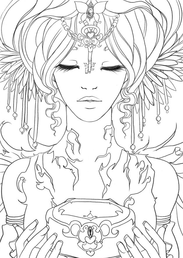 adult coloring pages for women | Illustrations, Original du livre Divines #13 est une ...