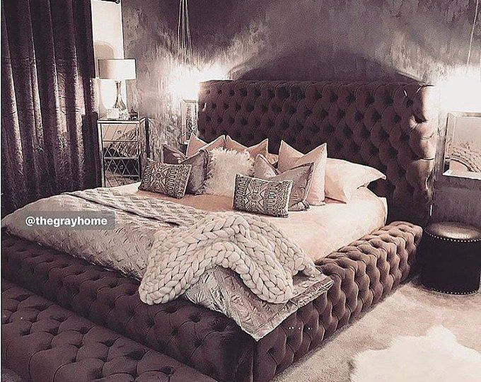 Tufted Velvet Platform Bed King Extra Large Wide Bed Diamond Etsy Tufted Bed Frame Bedding Master Bedroom Tufted Bed