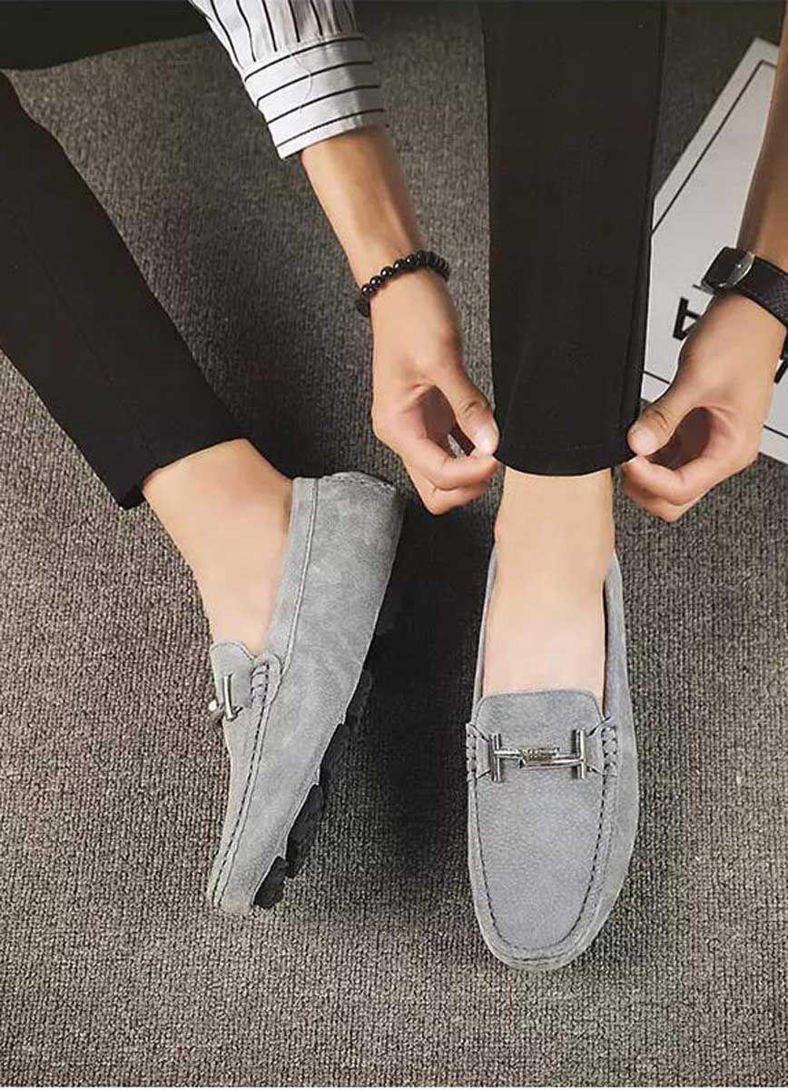 grey leather #SlipOn shoe loafers